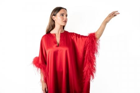 Kaftan in Ruby Red