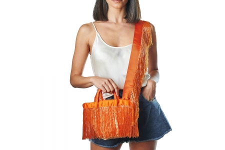 LA NUDA in Mandarin Orange with shoulder strap