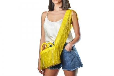 LA NUDA in Lemon Yellow with shoulder strap