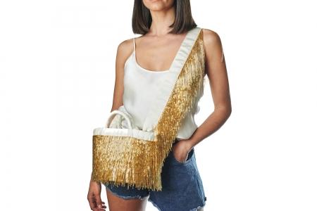 LA NUDA in Gold with shoulder strap