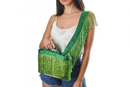 LA NUDA in Emerald Green with shoulder strap